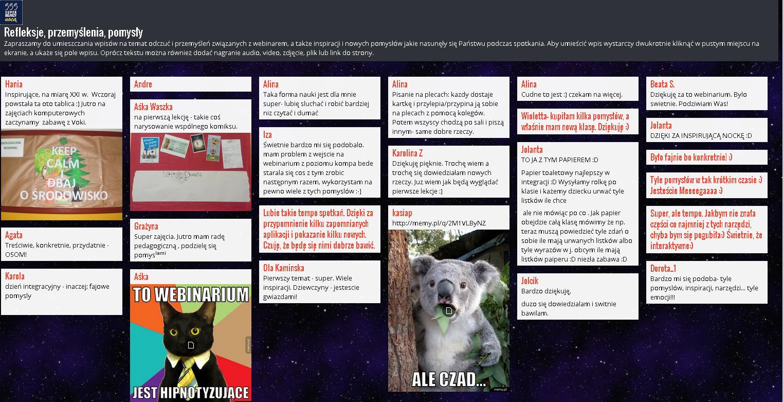 padlet pomysły i refleksje uczestników po webinarze
